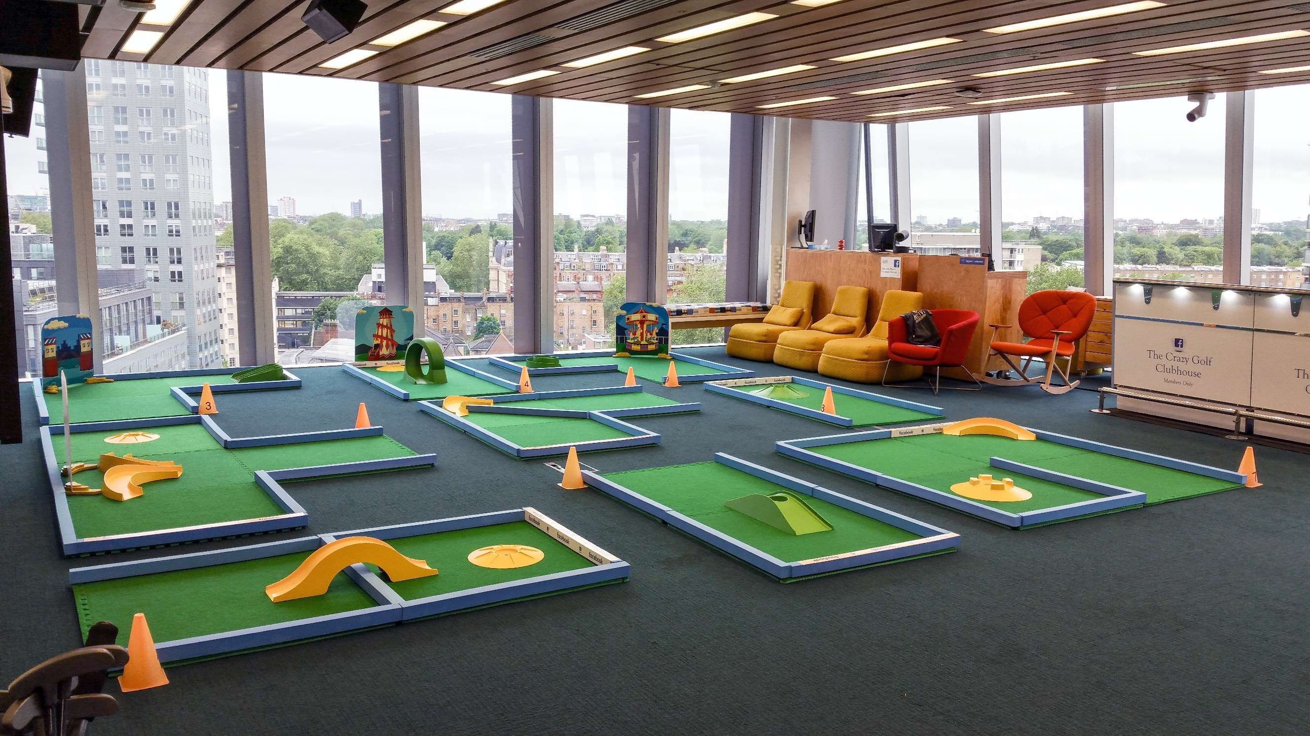 Laying out the course at Facebook HQ. minigolf crazygolf