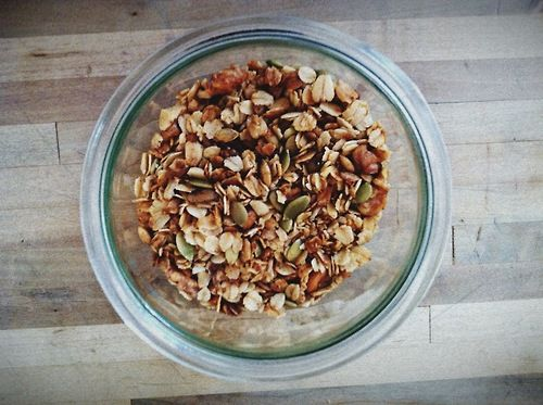 I finished off my homemade muesli today - just added a big dollop of plain yogurt. Yum.