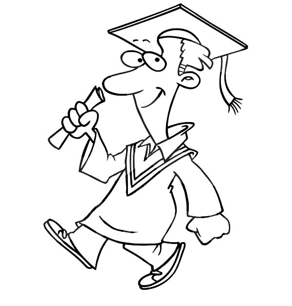 Graduation Man Walking Confidently Coloring Pages : Color Luna