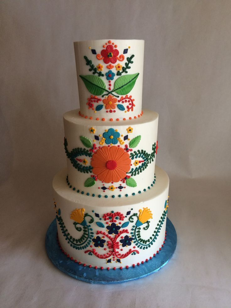 Wedding Cake | Mexican Inspired Embroidery | Colorful | buttercream | fondant appliques | piping Cake & Wedding Cake | Mexican Inspired Embroidery | Colorful | buttercream ...