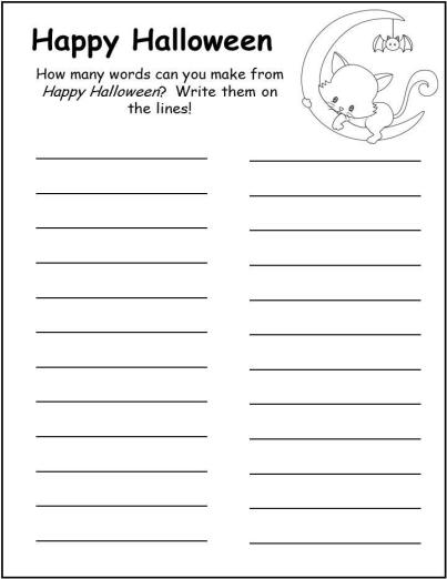 Halloween worksheets, funsheets, grade 2, grade 3, word find ...
