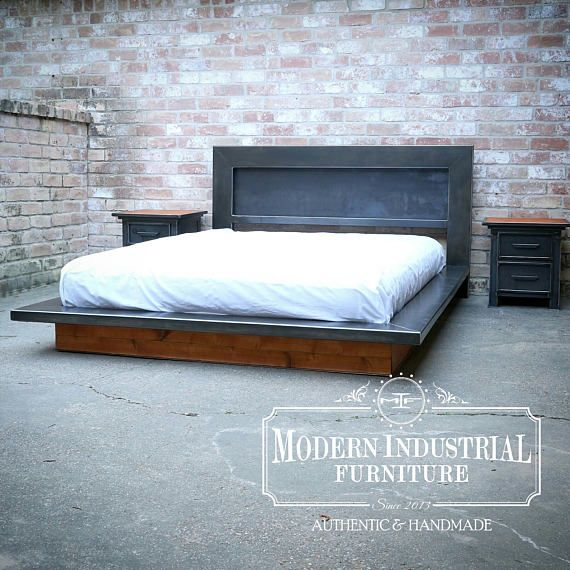 Modern Platform Bed Metal Industrial Headboard Low Profile