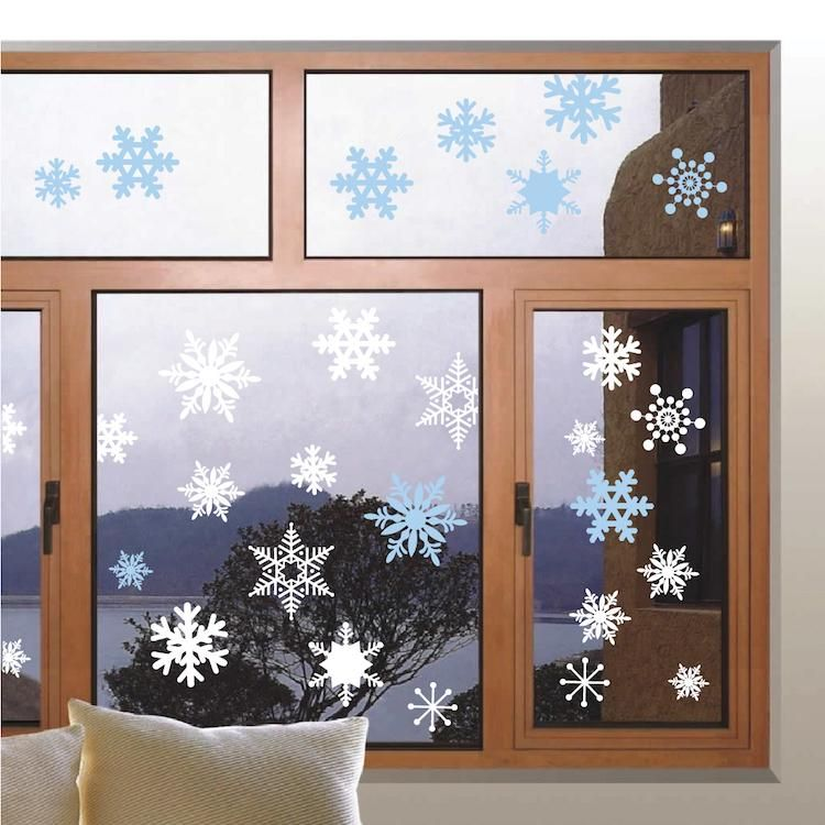 Removable Snowflake Wall And Window Decals Snowing Christmas Decor
