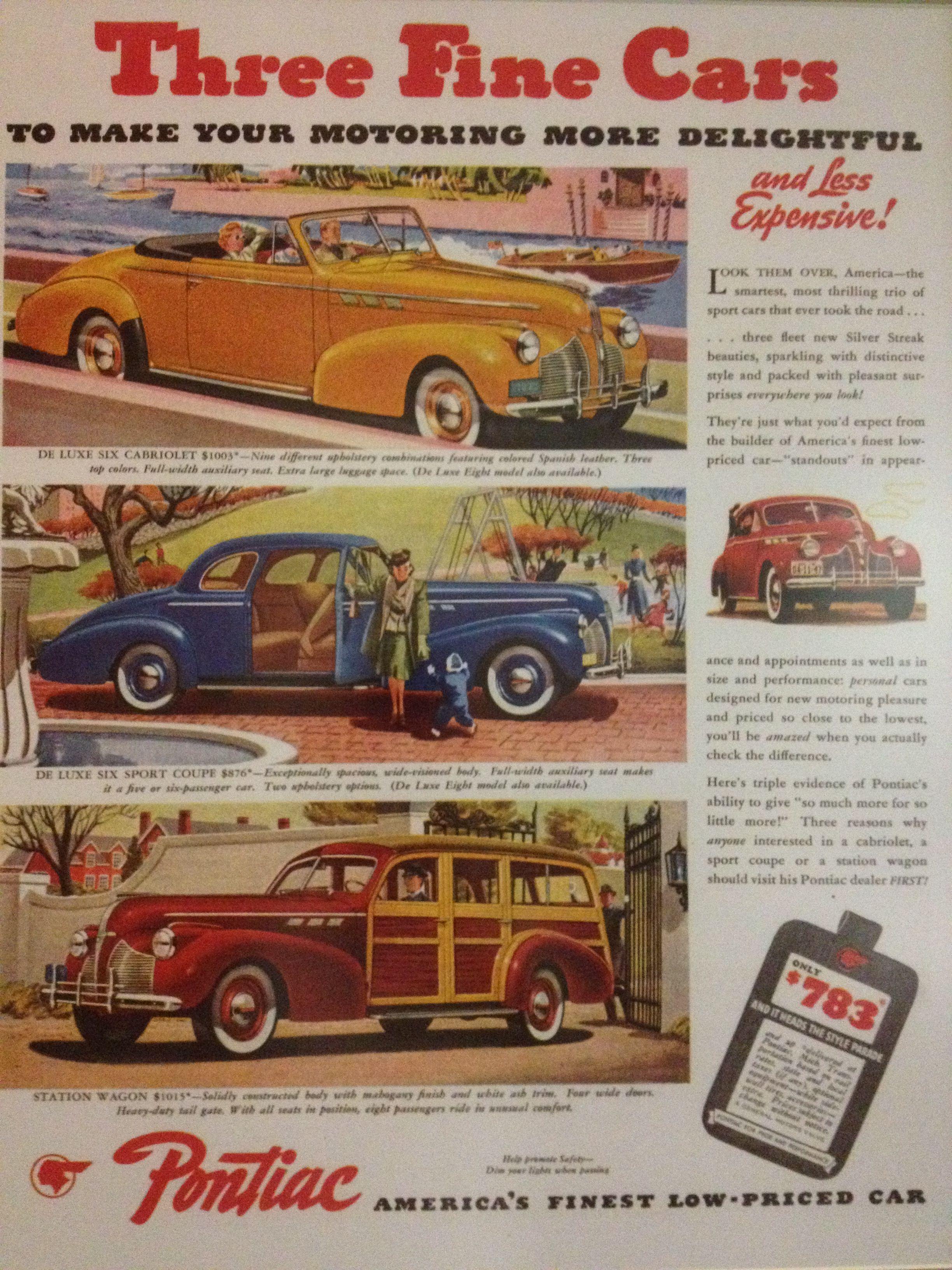 3 Fine Pontiac\'s - De Luxe Six Cabriolet, De Luxe Six Sport Coupe ...