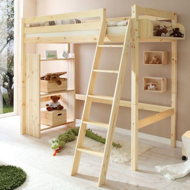 Lit Mezzanine Enfant Belles Idées Gain Despace Pinterest - Lit mezzanine bois