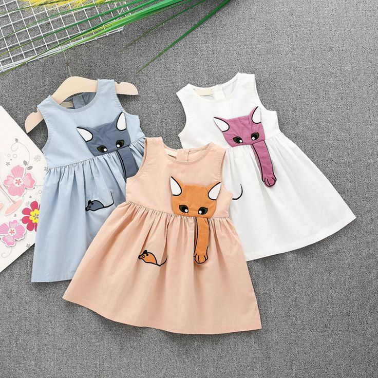 Animal Printed Toddler Girls Sleeveless Casual Summer Princess Dresses For 1Y-5Y…