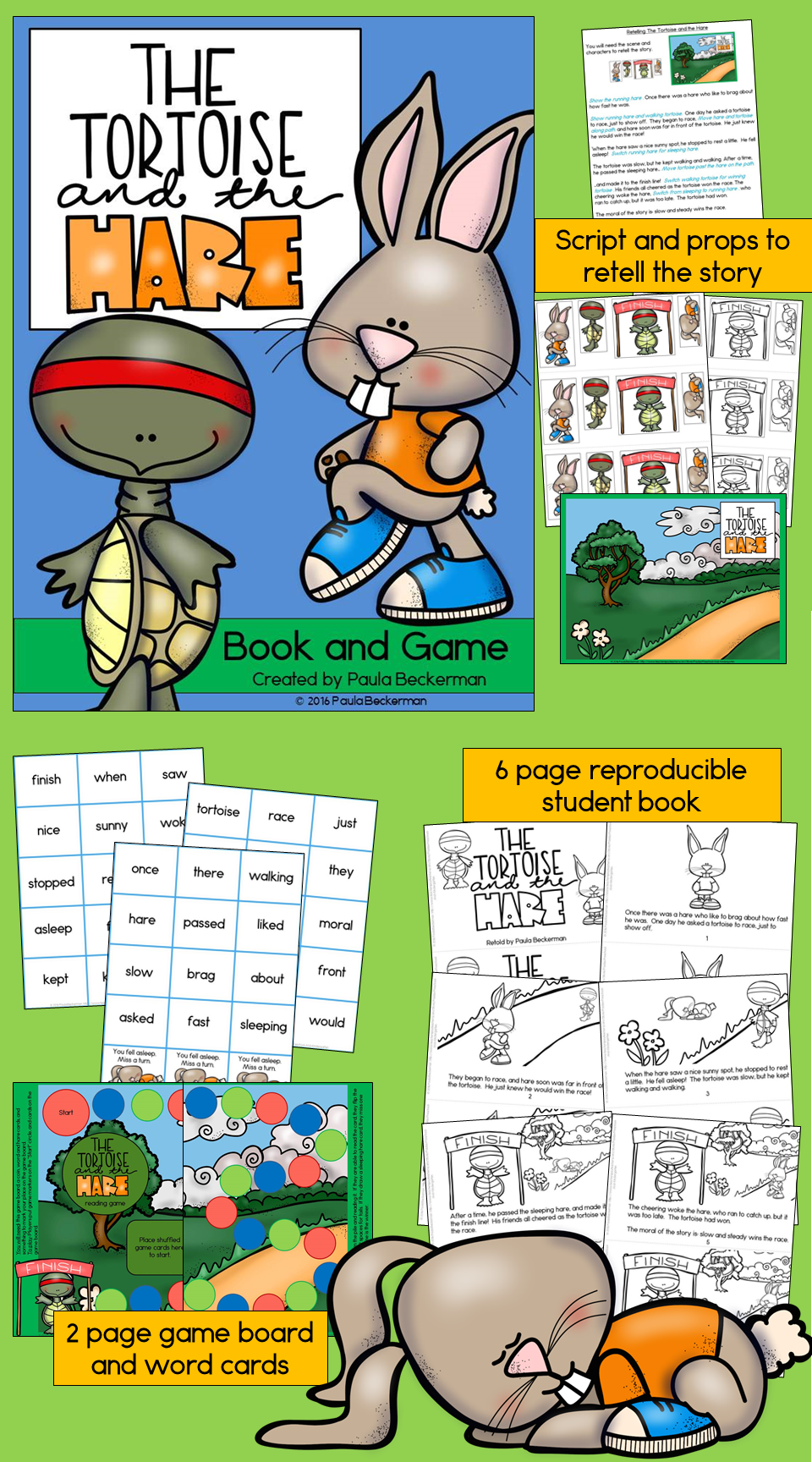 Fable The Tortoise and the Hare guided reading book game and – Reproducible Student Worksheet