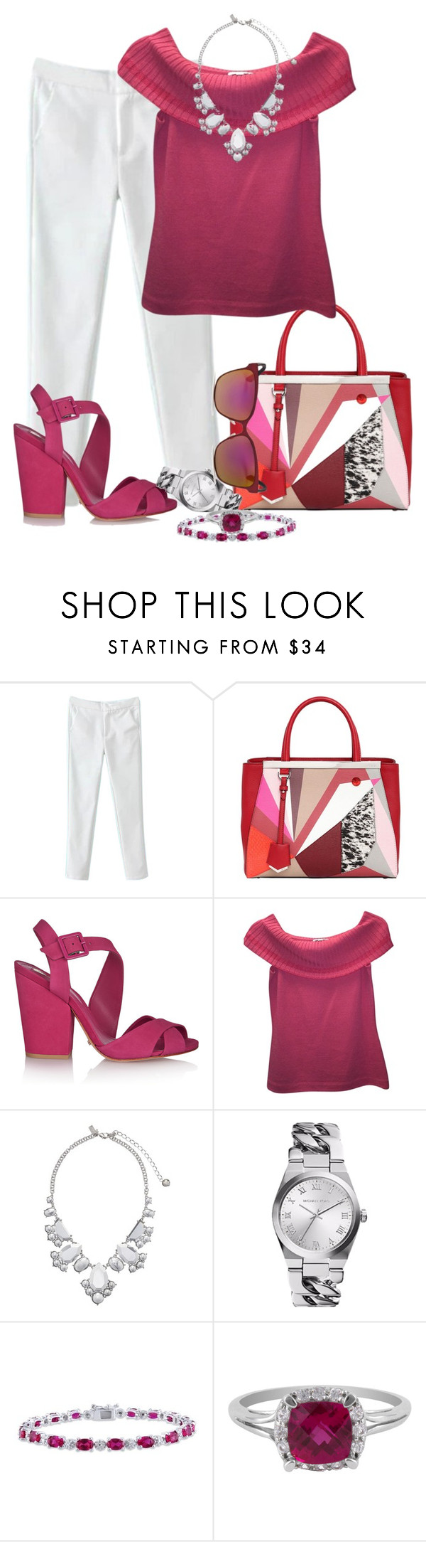 """""""Fushia"""" by sugerpop ❤ liked on Polyvore featuring Fendi, Schutz, St. John, Kate Spade, Amour, Jewel Exclusive and Jimmy Choo"""