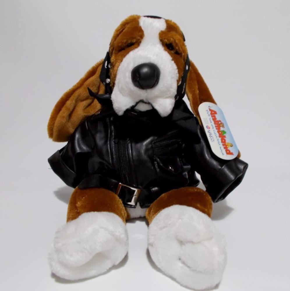 Leather jacket for dogs - Dudley Basset Hound Dog Plush Biker Faux Leather Jacket Stuffed Animal