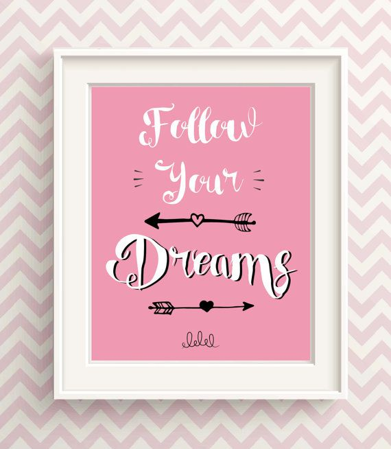 Follow Your Dreams Wall Decor Wall Art Quotes For Girls Bedroom Art