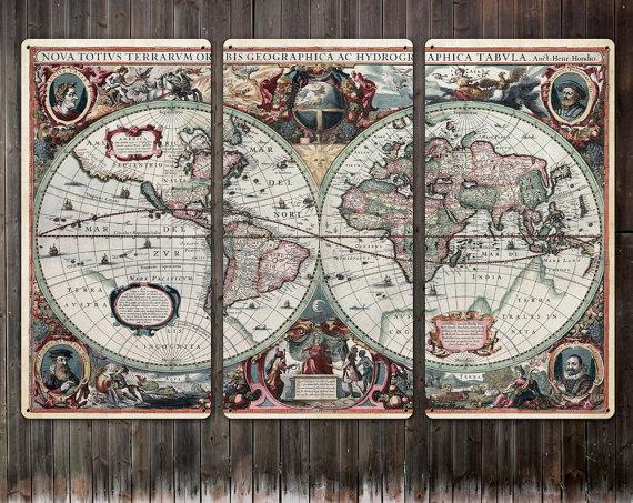 Vintage World Map METAL triptych 54x36 FREE by ArtHouseGraffiti, $350.00
