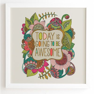 DENY Designs 'Today Is Going To Be Awesome' by Valentina Ramos Framed Graphic Art