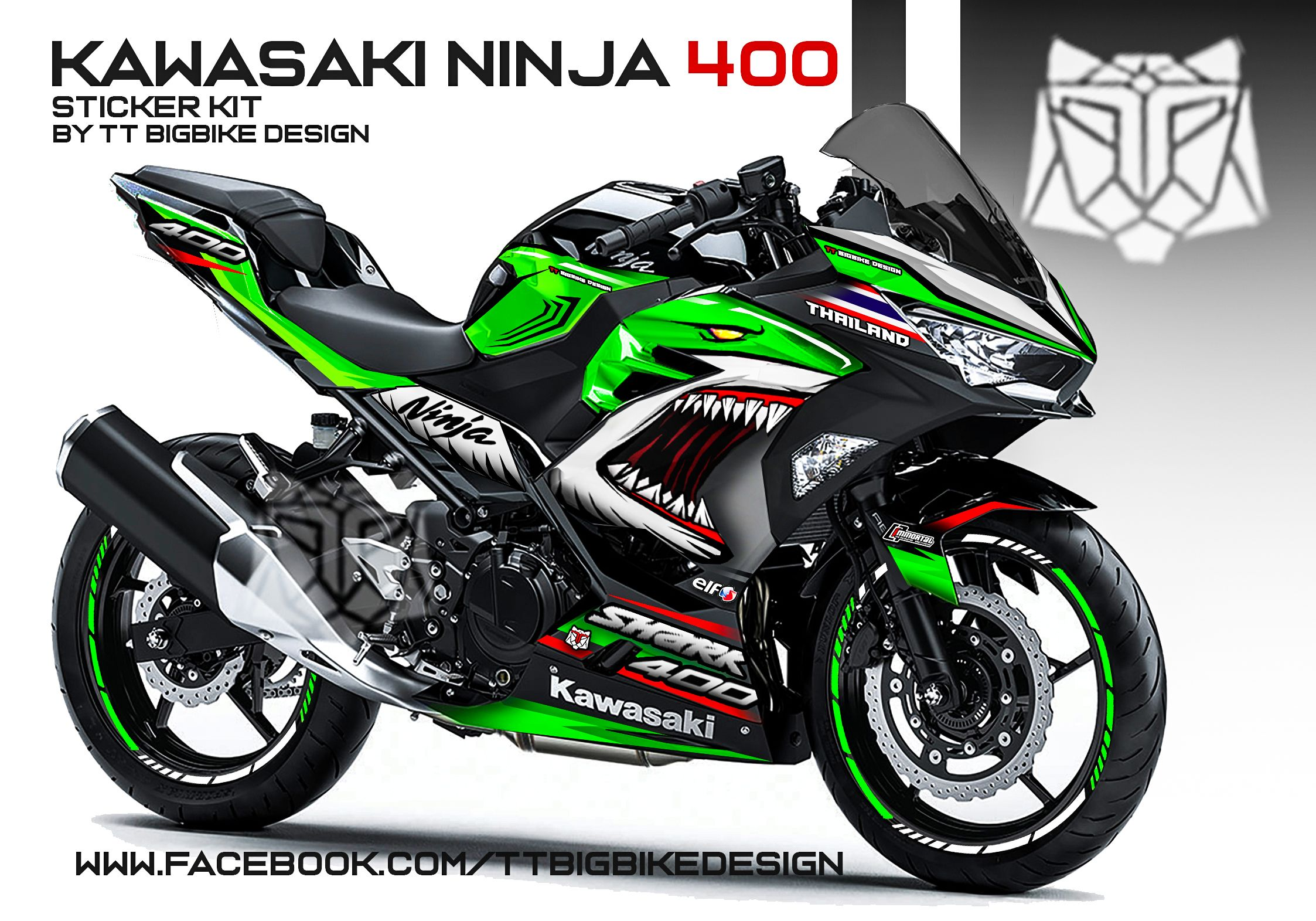 Sticker kit for ninja400 angry shark concept