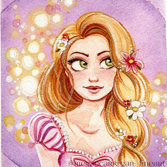 Rapunzel 4x4 Fine Art Quality Print on Lustre Paper. Fits standard 4x4 Square or around Frames. Lustre paper is a heavyweight sateen finish. It