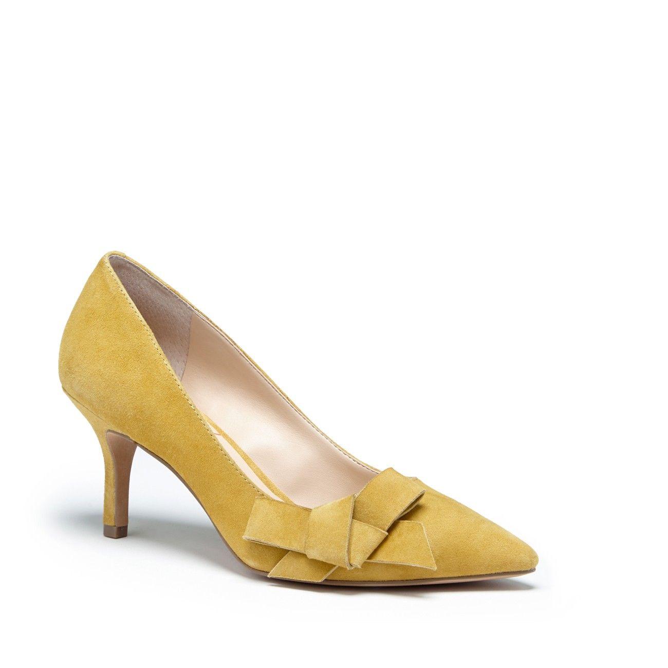 Women S Mustard Suede 2 1 2 Inch Suede Mid Heel Pump Jensine By Sole Society Heels Pumps Heels Shoes