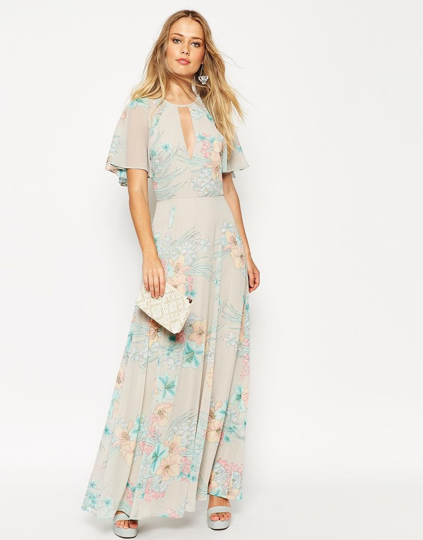 Asos flutter sleeve maxi dress floral