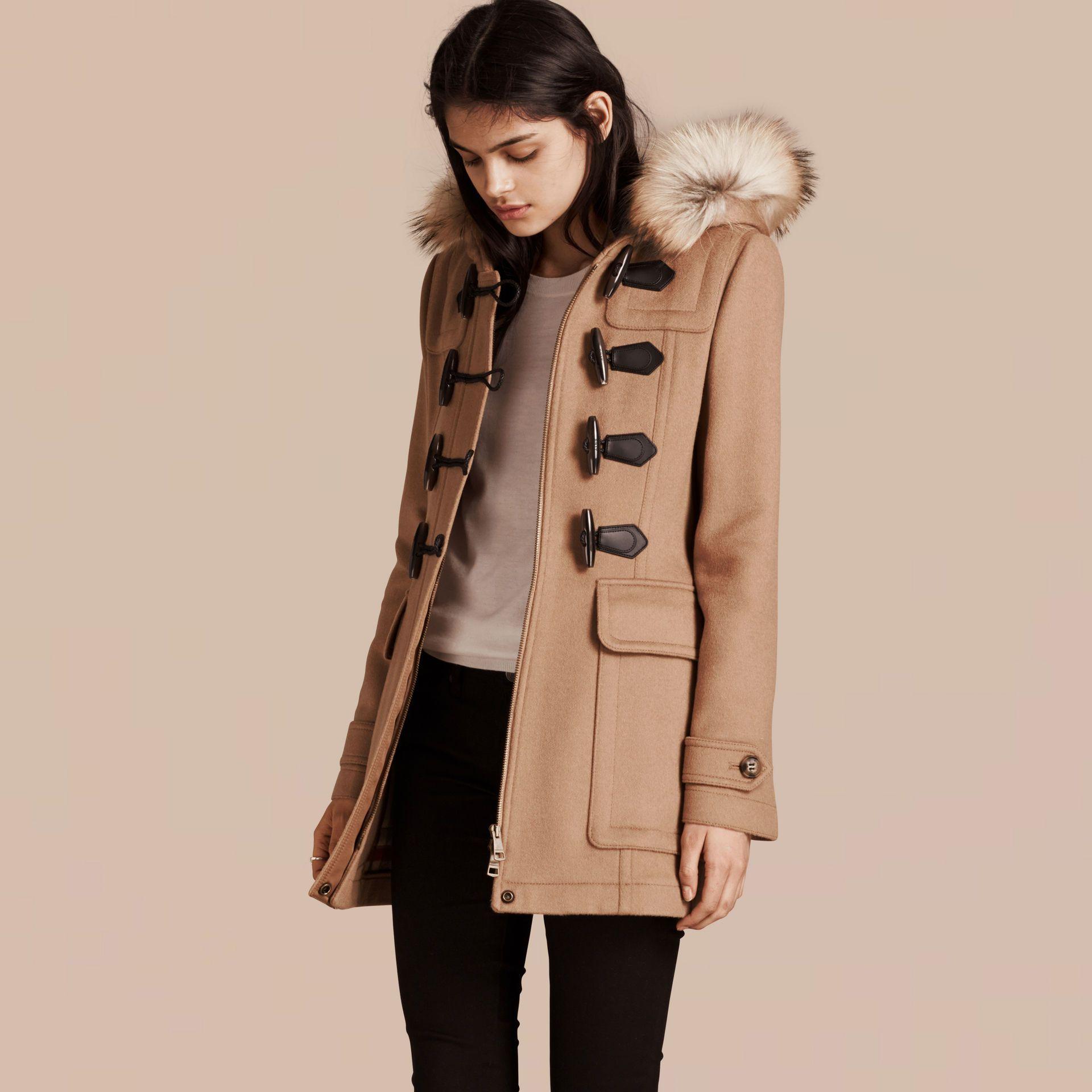 Detachable Fur Trim Wool Duffle Coat Camel | Burberry | Burberry ...