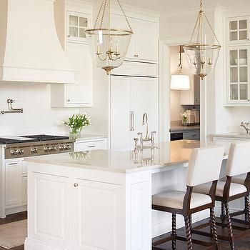 Ivory French KItchen Hood with Ivory Glazed Tile Backsplash