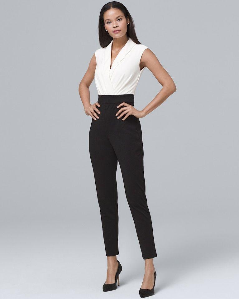 e6a802f7cdb Women s Contrast V-Neck Jumpsuit by White House Black Market