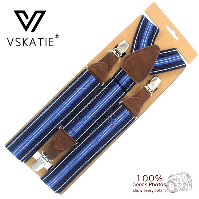 14colors Three Clips-on Male Striped Casual Suspenders Elastic Commercial Western-style Trousers Adult Braces Extended 135cm