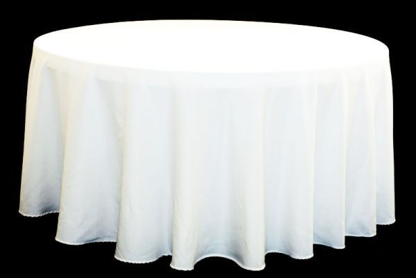 Polyester 120 Round Tablecloth White White Table Cloth Round Tablecloth Table Cloth