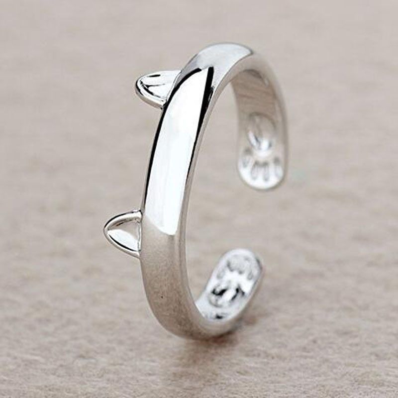 Silver Plated Cat Ring Featuring Cat Ears.  Simple Elegance.