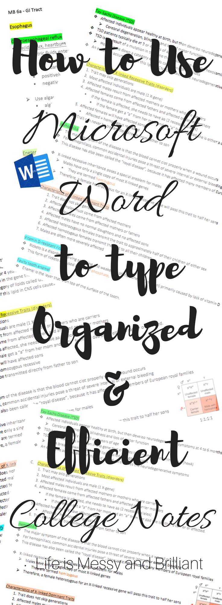 how to use microsoft word to type organized and efficient college