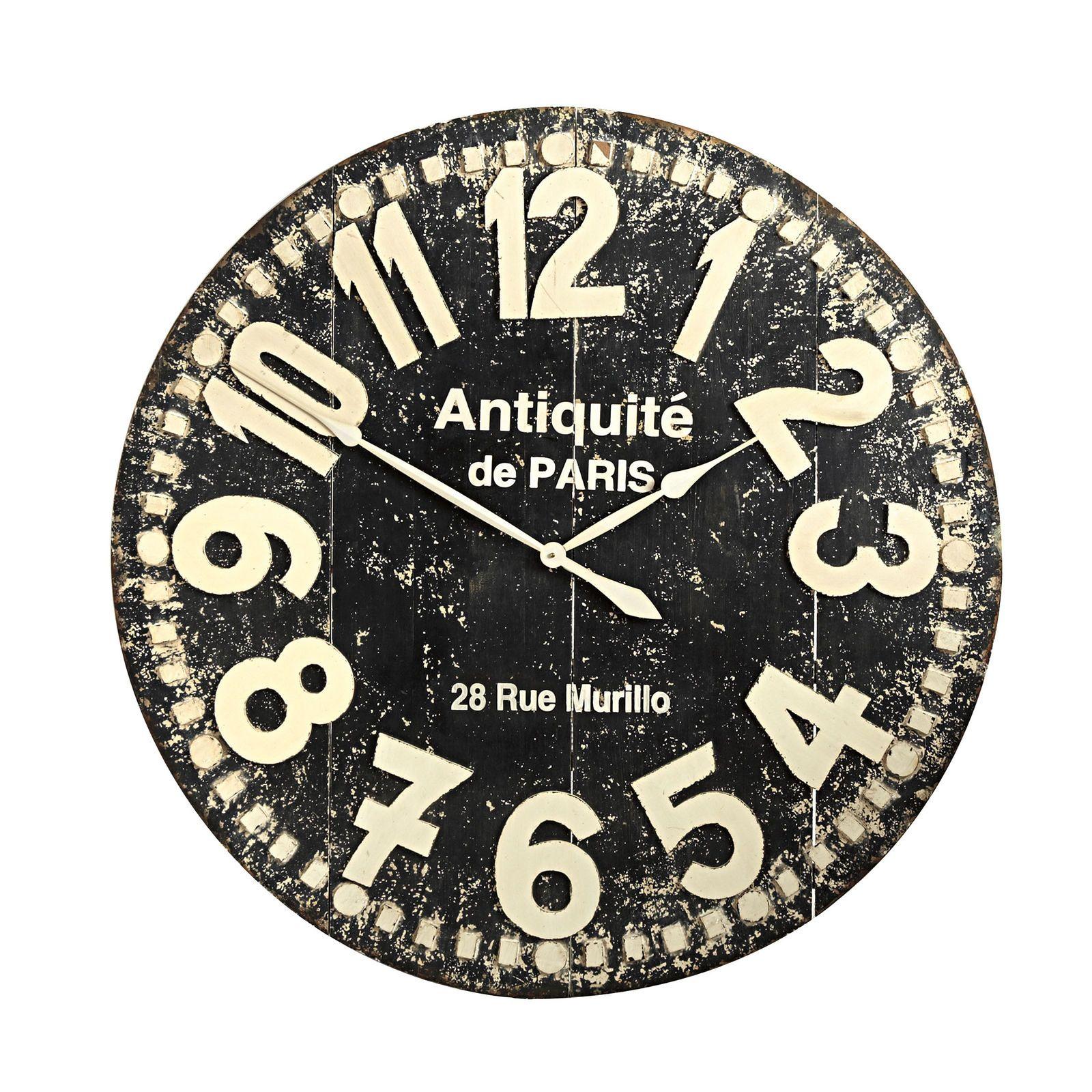 Grandiose Wall Clock Black Distressed Wall Clock Wall Clock Clock