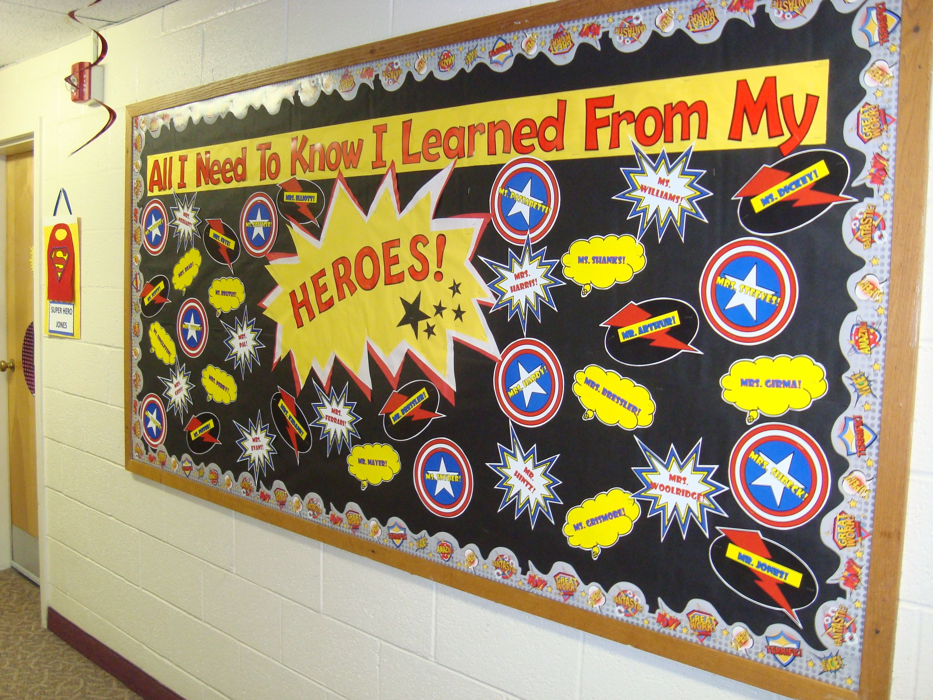 Superhero Classroom Decoration Ideas ~ Superhero bulletin board teacher appreciation