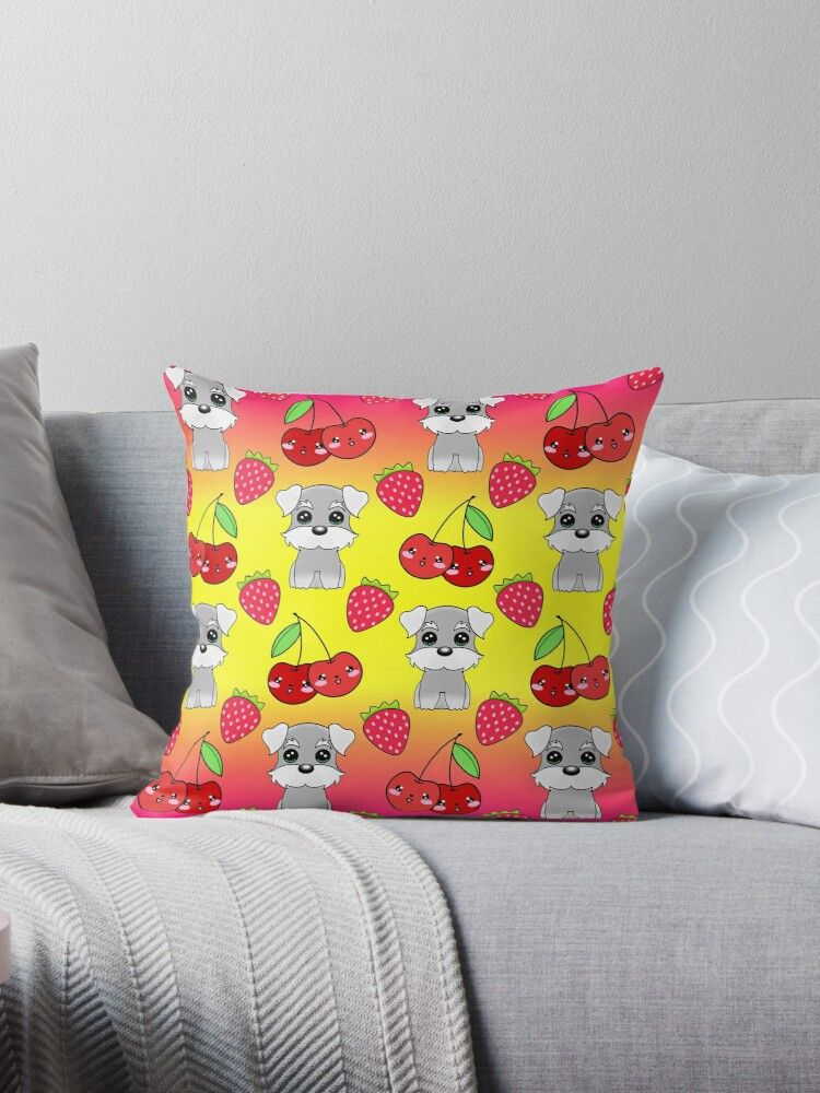 Cute little happy grey little baby Schnauzer puppies, yummy red sweet summer strawberries and funny Kawaii cherries sunny bright yellow and pink fruity pattern design. Throw Pillow