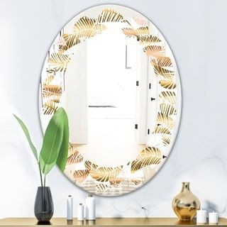 Designart 'Golden Tropical Pattern III' Modern Round or Oval Wall Mirror - Leaves #tropicalpattern