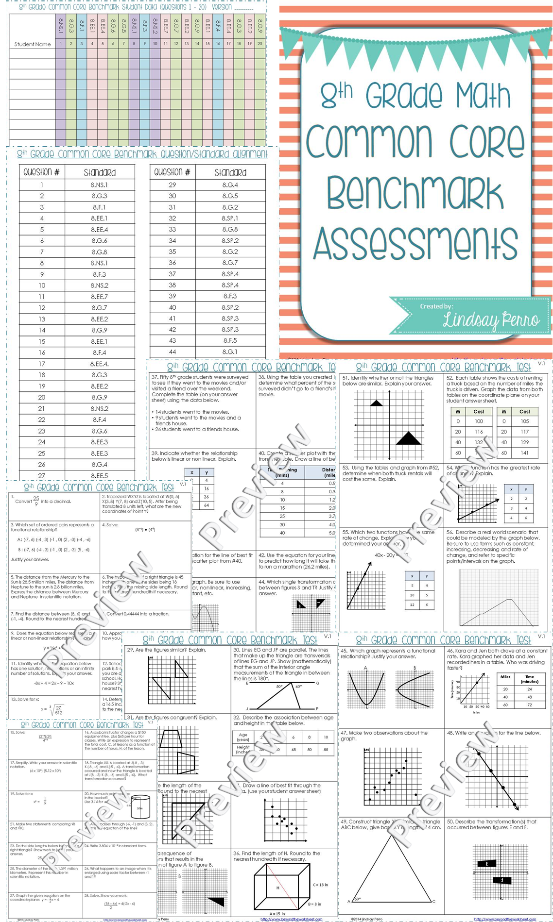 8th Grade Math Benchmark Exam | Teaching Ideas | 8th grade math