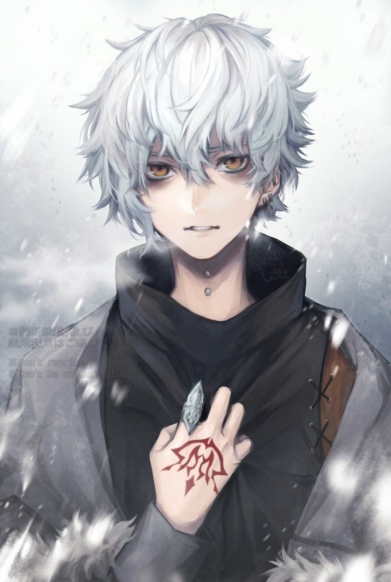 Anime Guy Tattoo Art White/Silver Hair Cold Weather