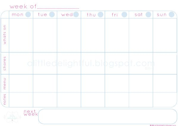 a little delightful {printable} family schedule + a weekly planner - Agenda Planner Template