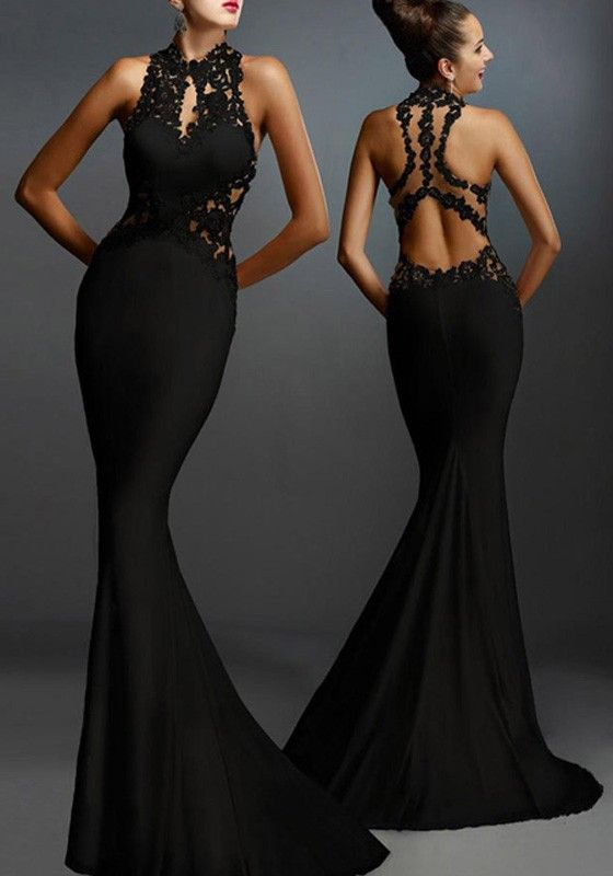 Black Lace Patchwork Elegant Backless Mermaid Evening Party Maxi Dress 6fd707c851f7