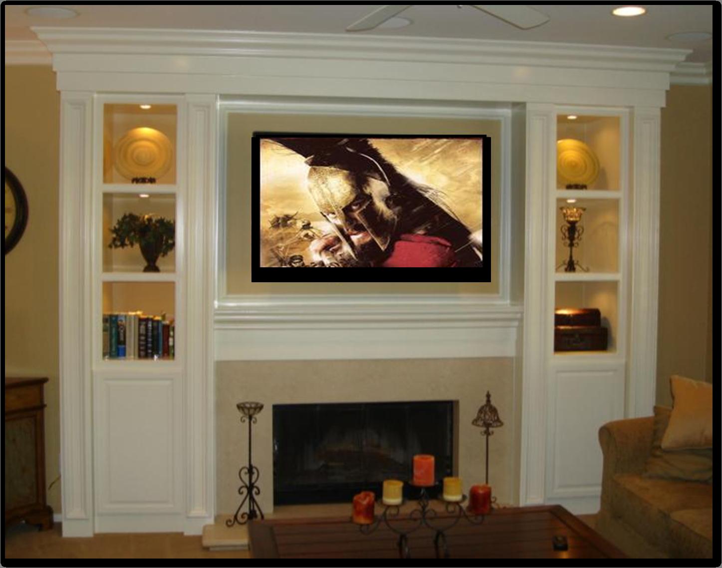 Built In Entertainment Centers Fireplace Fireplace  # Bibliotheque Murale Pour Televiseur Avec Foyer Electrique