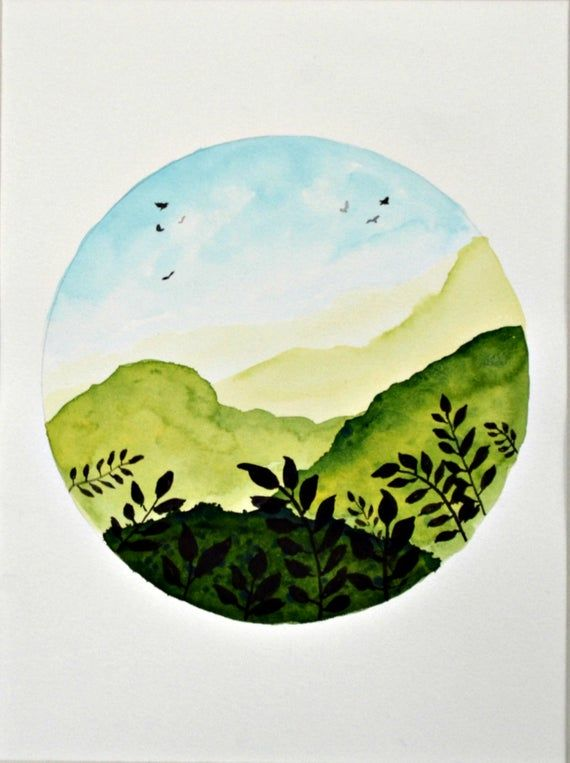 Dreamy green landscape watercolor painting, office