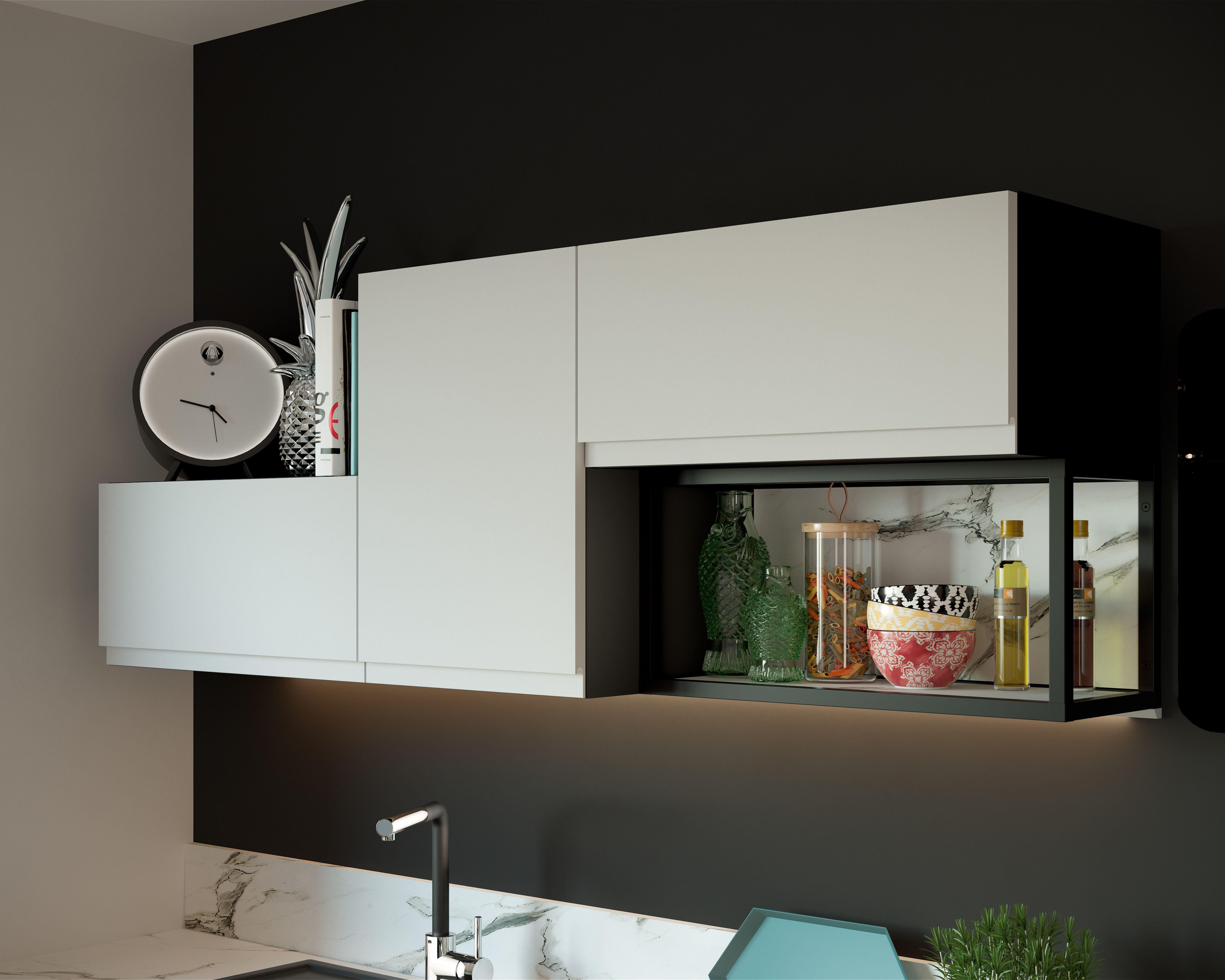 Cuisine Noire Et Blanche Modele De Cuisine Manhattan Par Socoo C Meuble Haut Mobilier De Salon Cuisine Noir Et Blanc