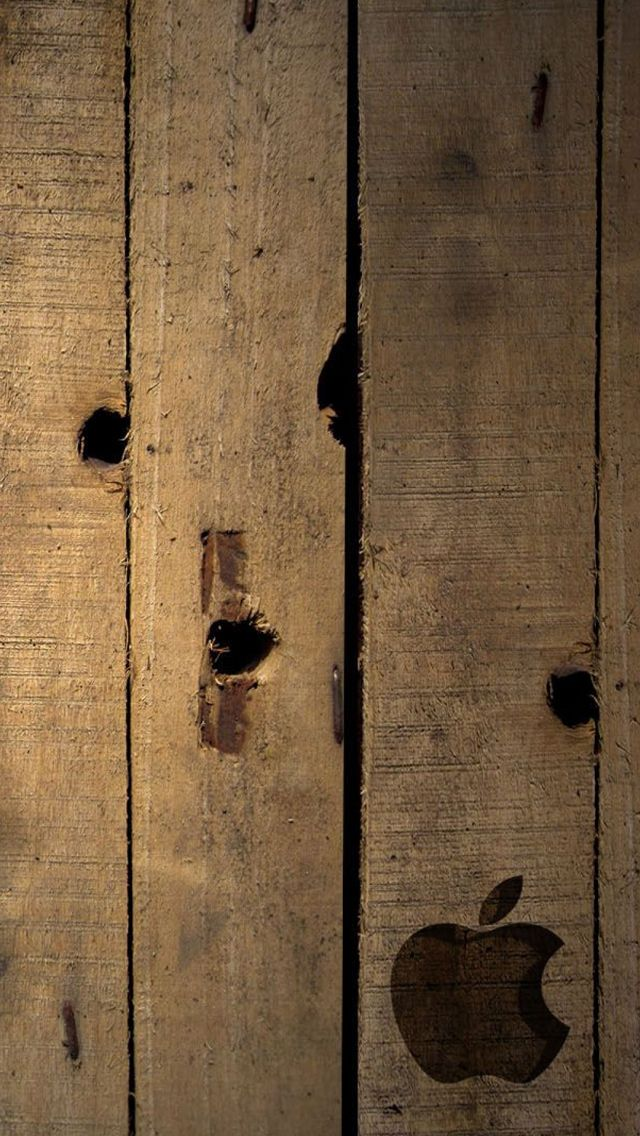 Apple logo on wood iPhone 5 Wallpaper Download more free