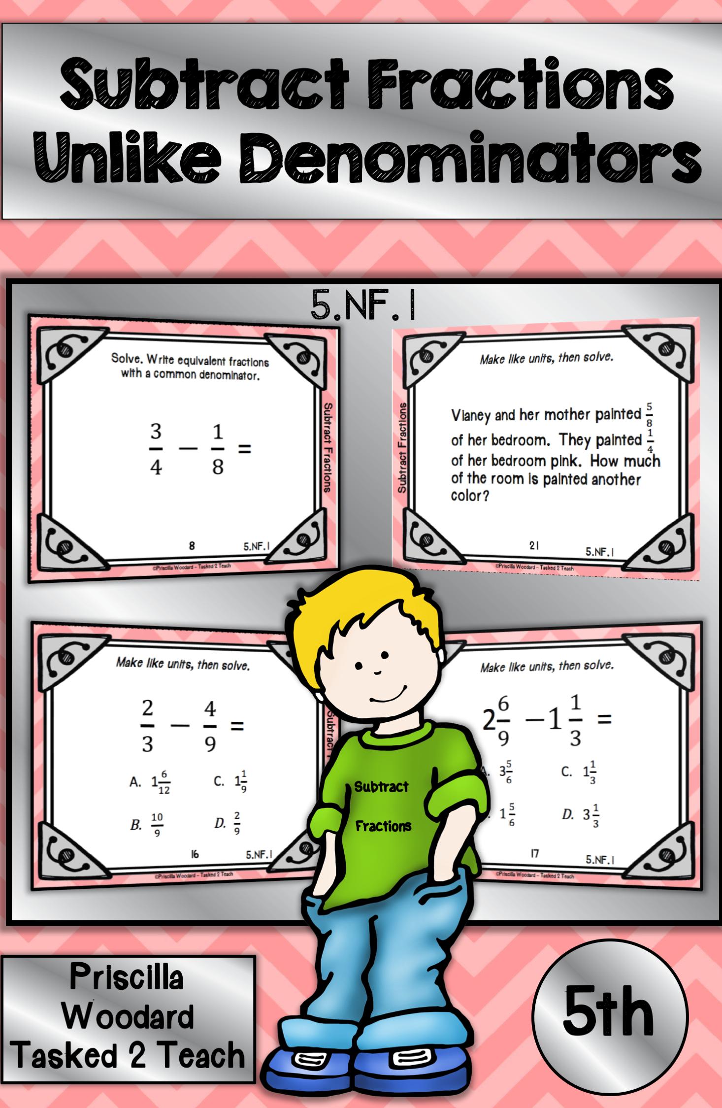 Subtract Fractions With Unlike Denominators 5th Grade