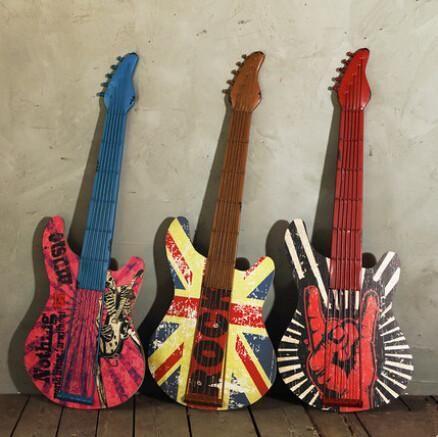 Imitation Guitar Wall Decoration Iron Rock N Roll Guitars For Art Hanging Music Home Decor