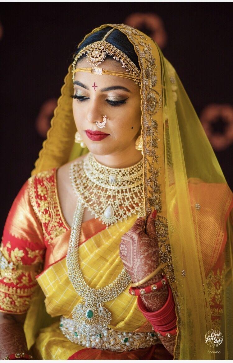 a6ee07105c South Indian bride for wedding. Lovely yellow kanjeevaram saree with  matching dupatta with zardosi work | WedMeGood| #wedmegood #indianweddings  #kanjeevaram ...
