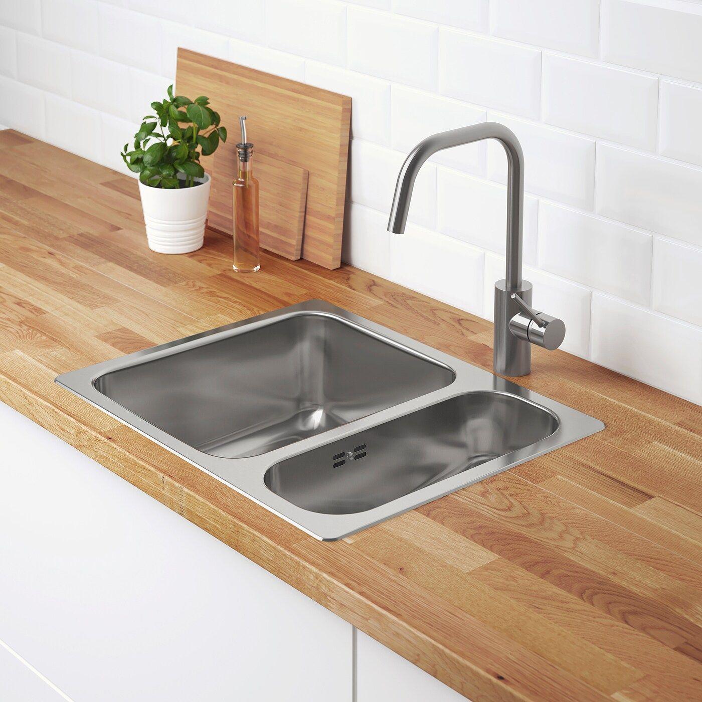 Hillesjon Einbauspule 1 1 2 Becken Edelstahl Ikea Osterreich In 2020 Einbauspule Waschbecken Und Landkuchendesign