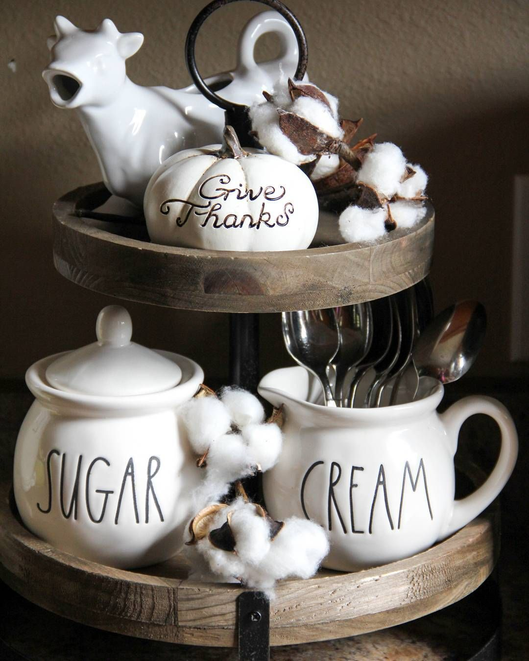 Beautifully Styled Rae Dunn On A Hobby Lobby 2 Tiered Tray For Fall Cotton Stems Are A Necessity Coffee Bars In Kitchen Diy Farmhouse Decor Tiered Tray Decor
