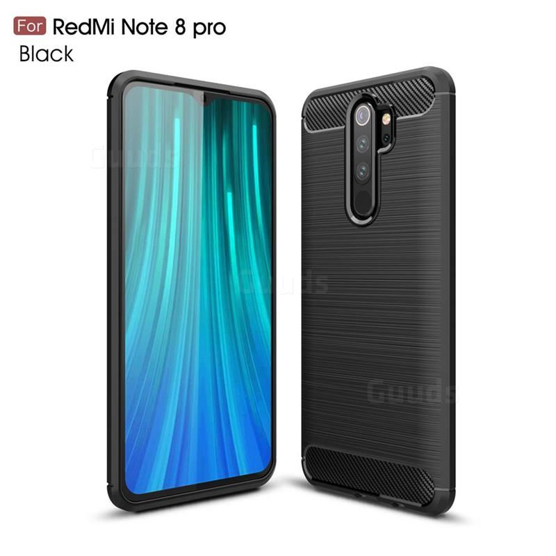 Luxury Carbon Fiber Brushed Wire Drawing Silicone Tpu Back Cover For Mi Xiaomi Redmi Note 8 Pro Black Xiaomi Redmi Note 8 Pro Cases Guuds Wire Drawing Xiaomi Carbon Fiber