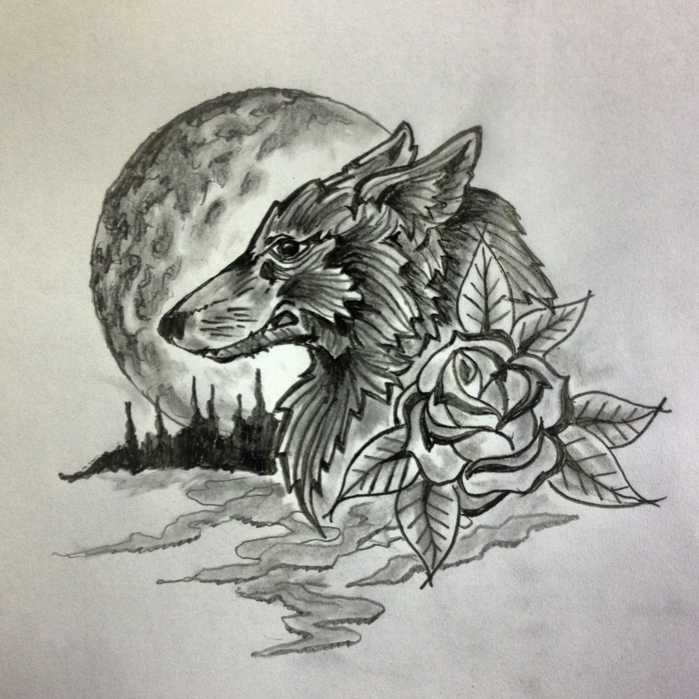 Wolf Moon Flower Tattoo Sketch By Ranz Moon Flower Art Sketches Flower Tattoo