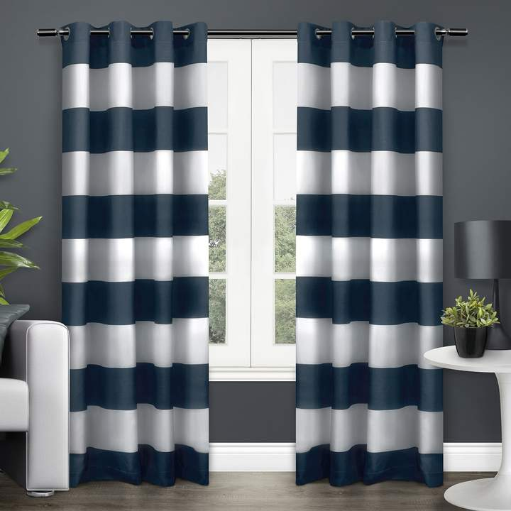 Exclusive Home 2 Pack Surfside Cotton Cabana Stripe Window Curtains
