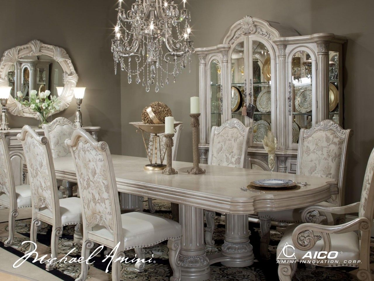 traditional dining room set. Michael Amini Monte Carlo Silver Pearl II Traditional Dining Room Set by  AICO
