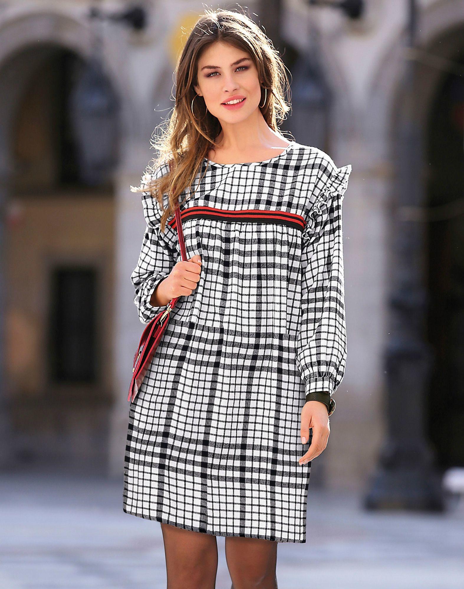 ef5b398cf8e0 Robe courte à carreaux manches longues petits volants femme Exclusivité  3SUISSES - Carreaux Noir