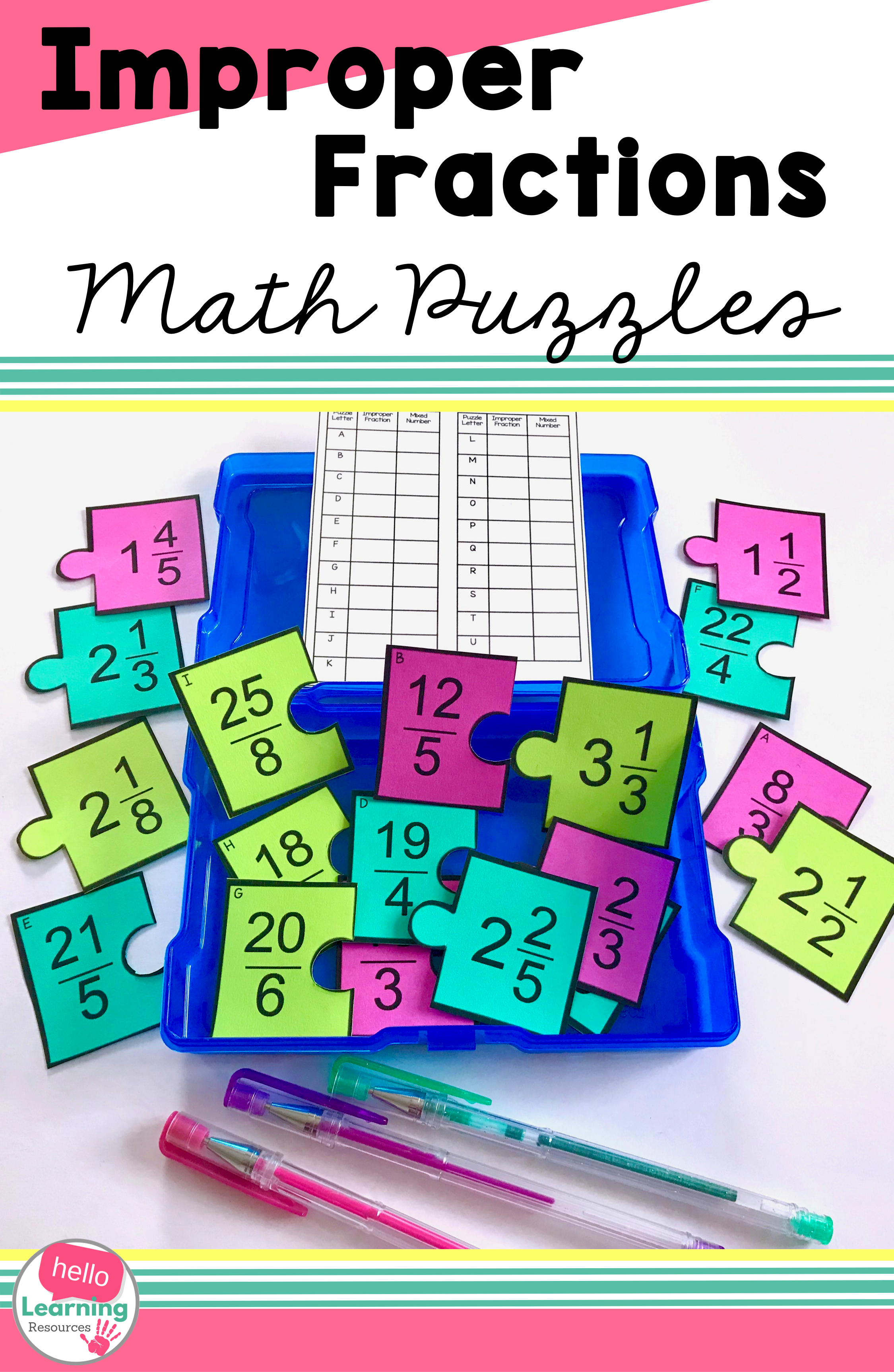Improper Fractions And Mixed Numbers Matching Puzzles